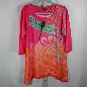 Greater Good pink dragonfly shirt L 6146